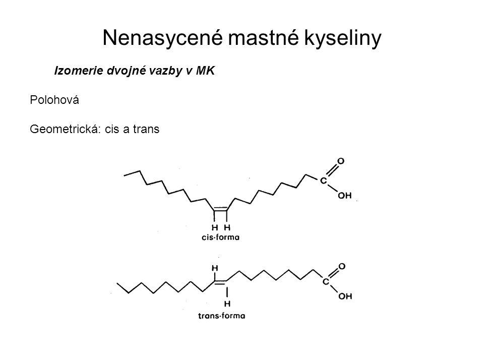 Izomerie dvojné vazby v MK Polohová Geometrická: cis a trans Nenasycené mastné kyseliny