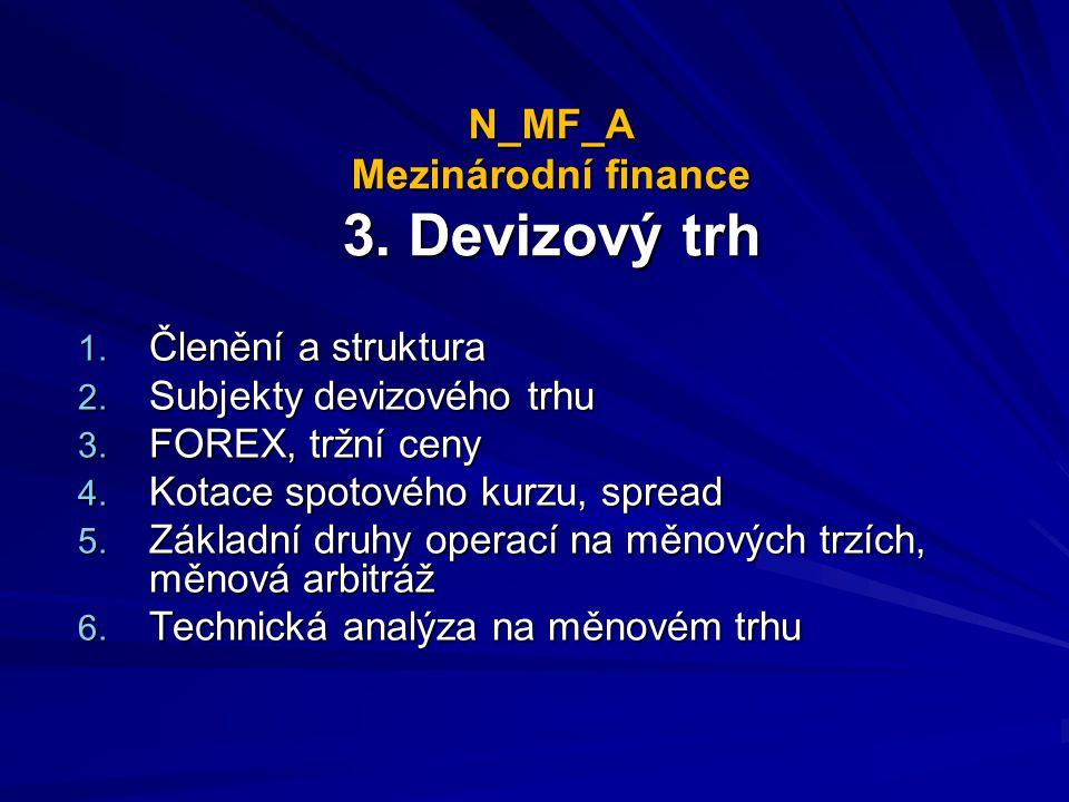 N_MF_A Mezinárodní finance 3.Devizový trh 1. Členění a struktura 2.