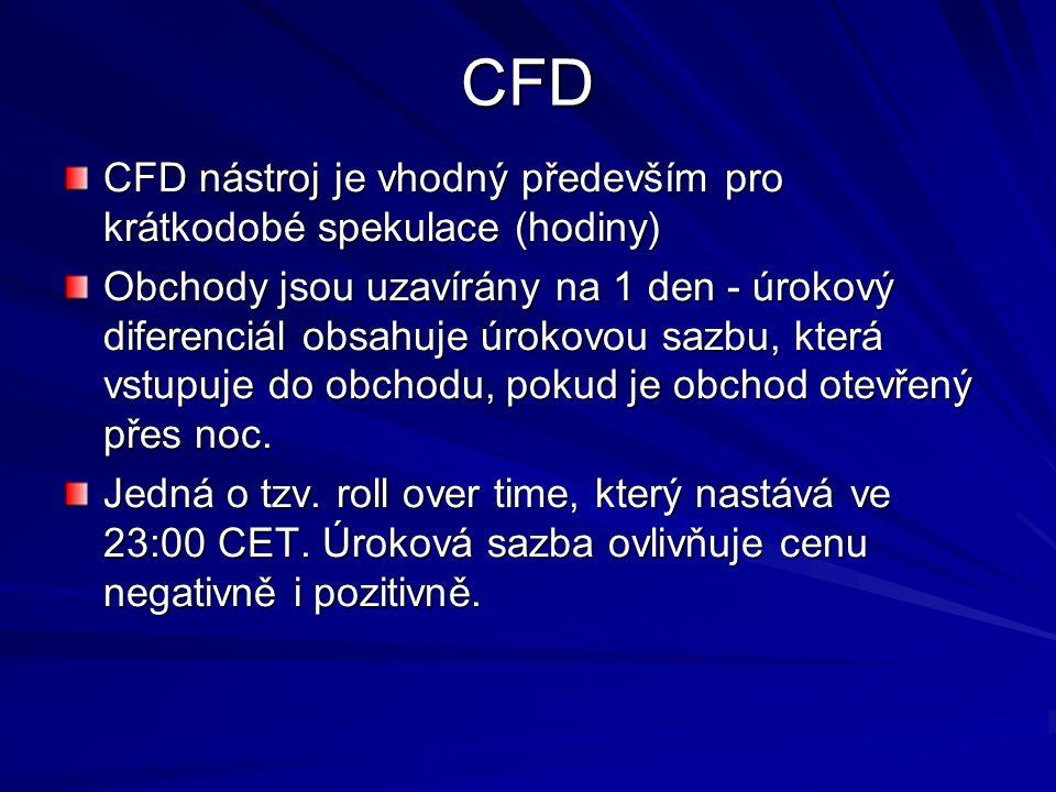 CFD CFD nástroj je vhodný především pro krátkodobé spekulace (hodiny) Obchody jsou uzavírány na 1 den - úrokový diferenciál obsahuje úrokovou sazbu, která vstupuje do obchodu, pokud je obchod otevřený přes noc.