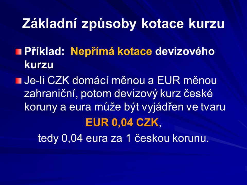 Základní způsoby kotace kurzu Příklad: Nepřímá kotace devizového kurzu Je-li CZK domácí měnou a EUR měnou zahraniční, potom devizový kurz české koruny a eura může být vyjádřen ve tvaru EUR 0,04 CZK, tedy 0,04 eura za 1 českou korunu.