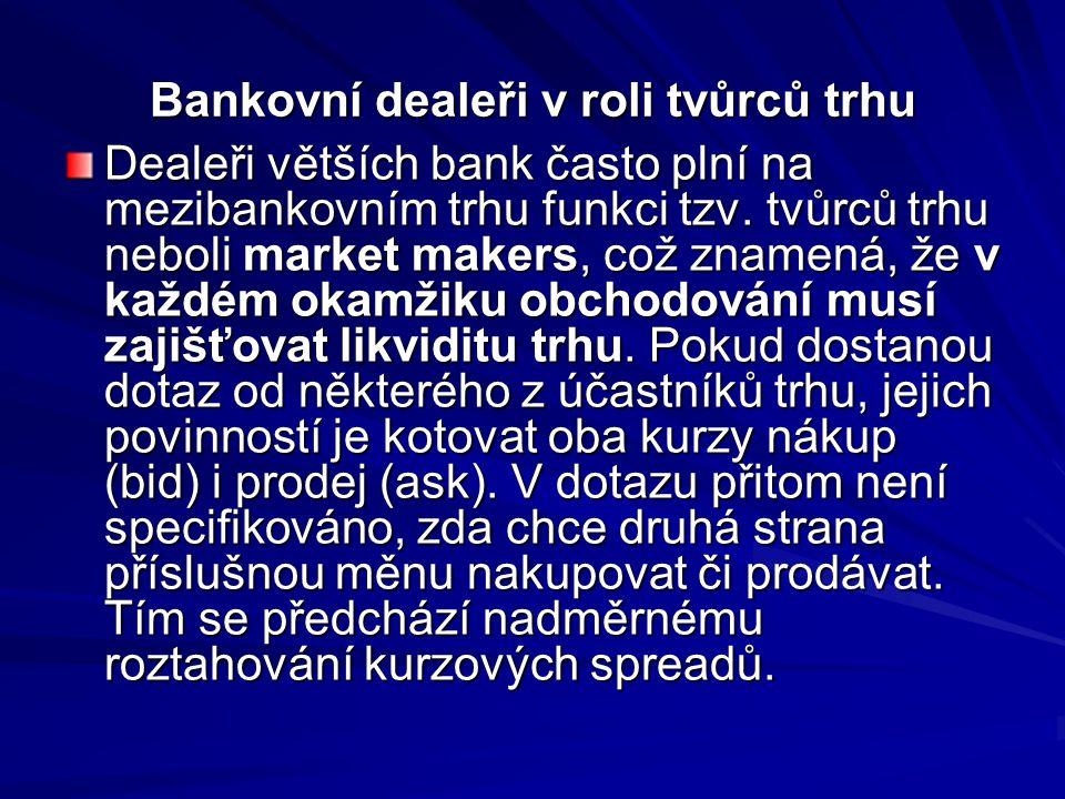 Bankovní dealeři v roli tvůrců trhu Dealeři větších bank často plní na mezibankovním trhu funkci tzv.