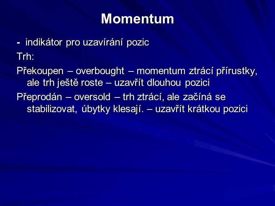 Momentum - indikátor pro uzavírání pozic Trh: Překoupen – overbought – momentum ztrácí přírustky, ale trh ještě roste – uzavřít dlouhou pozici Přeprodán – oversold – trh ztrácí, ale začíná se stabilizovat, úbytky klesají.