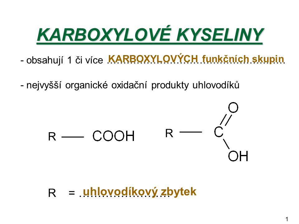 1 KARBOXYLOVÉ KYSELINY - obsahují 1 či více ……………………………………………… - nejvyšší organické oxidační produkty uhlovodíků KARBOXYLOVÝCH funkčních skupin R R R