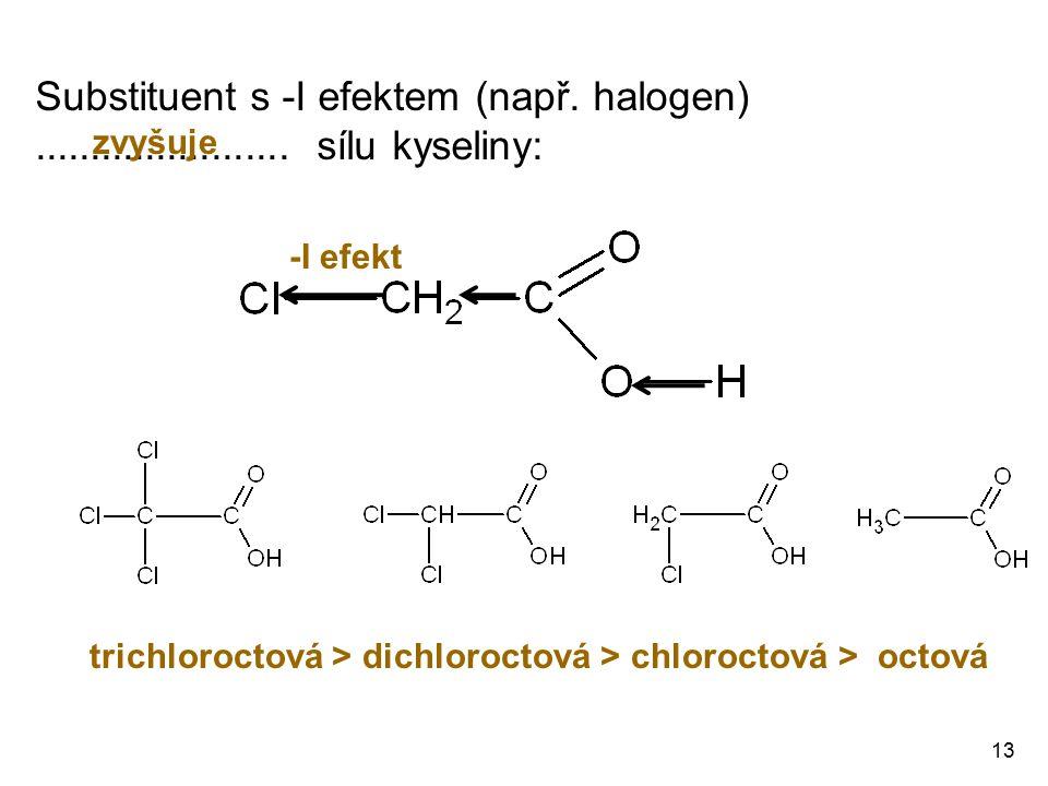 -I efekt trichloroctová > dichloroctová > chloroctová > octová 13 Substituent s -I efektem (např. halogen)....................... sílu kyseliny: zvyšu