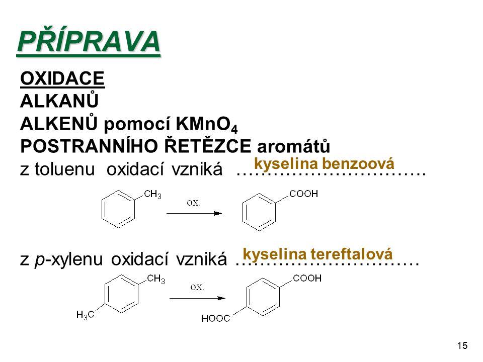 15PŘÍPRAVA OXIDACE ALKANŮ ALKENŮ pomocí KMnO 4 POSTRANNÍHO ŘETĚZCE aromátů z toluenu oxidací vzniká …………………………. z p-xylenu oxidací vzniká ………………………… k