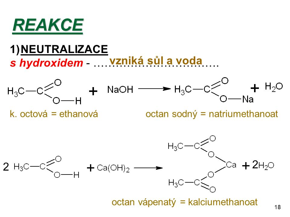 18REAKCE 1)NEUTRALIZACE s hydroxidem - ……………………………. vzniká sůl a voda 2 2 k. octová = ethanováoctan sodný = natriumethanoat octan vápenatý = kalciumet
