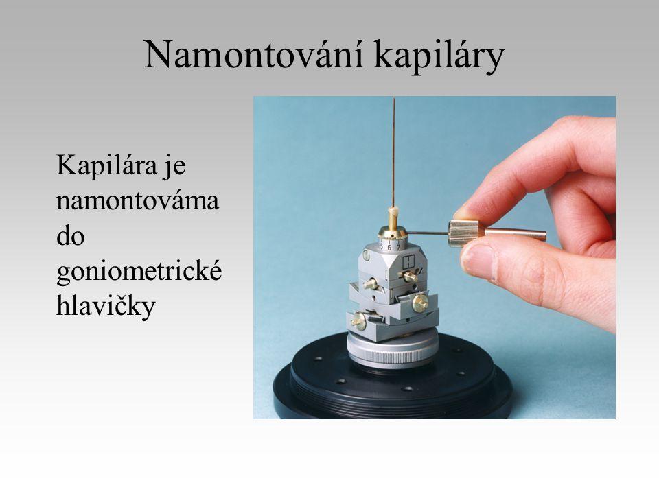 Namontování kapiláry Kapilára je namontováma do goniometrické hlavičky