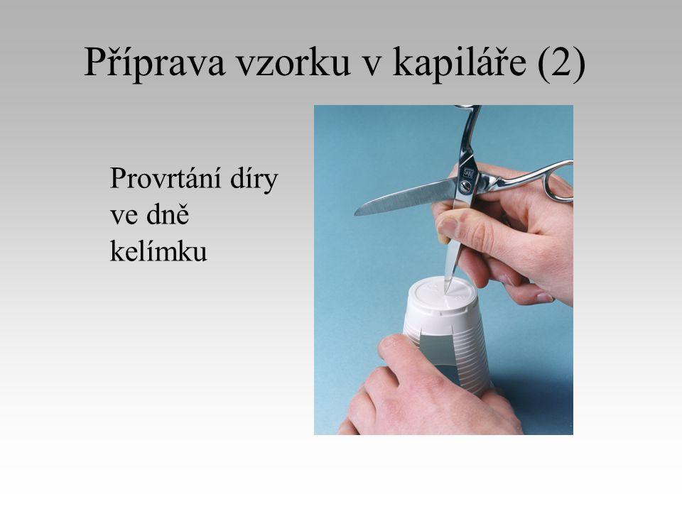 Příprava vzorku v kapiláře (2) Provrtání díry ve dně kelímku