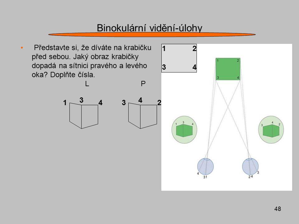 48 Binokulární vidění-úlohy Představte si, že díváte na krabičku před sebou. Jaký obraz krabičky dopadá na sítnici pravého a levého oka? Doplňte čísla