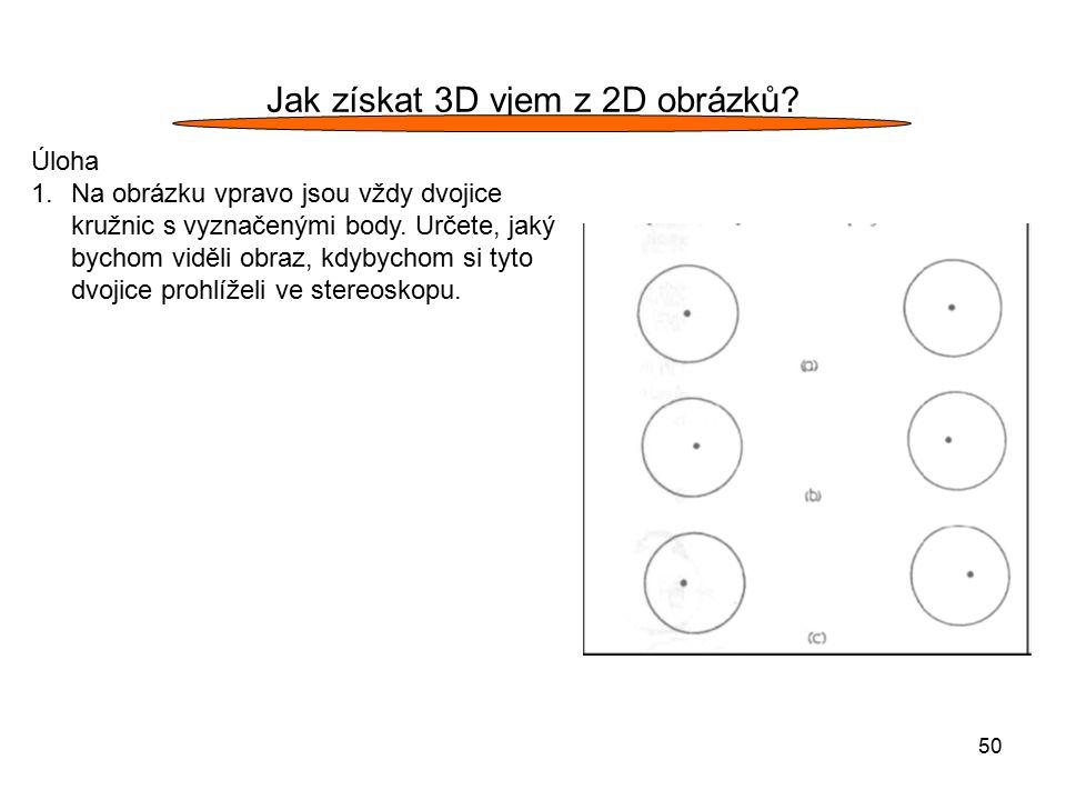 50 Jak získat 3D vjem z 2D obrázků? Úloha 1.Na obrázku vpravo jsou vždy dvojice kružnic s vyznačenými body. Určete, jaký bychom viděli obraz, kdybycho