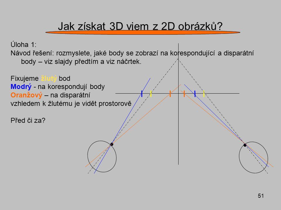 51 Jak získat 3D vjem z 2D obrázků? Úloha 1: Návod řešení: rozmyslete, jaké body se zobrazí na korespondující a disparátní body – viz slajdy předtím a
