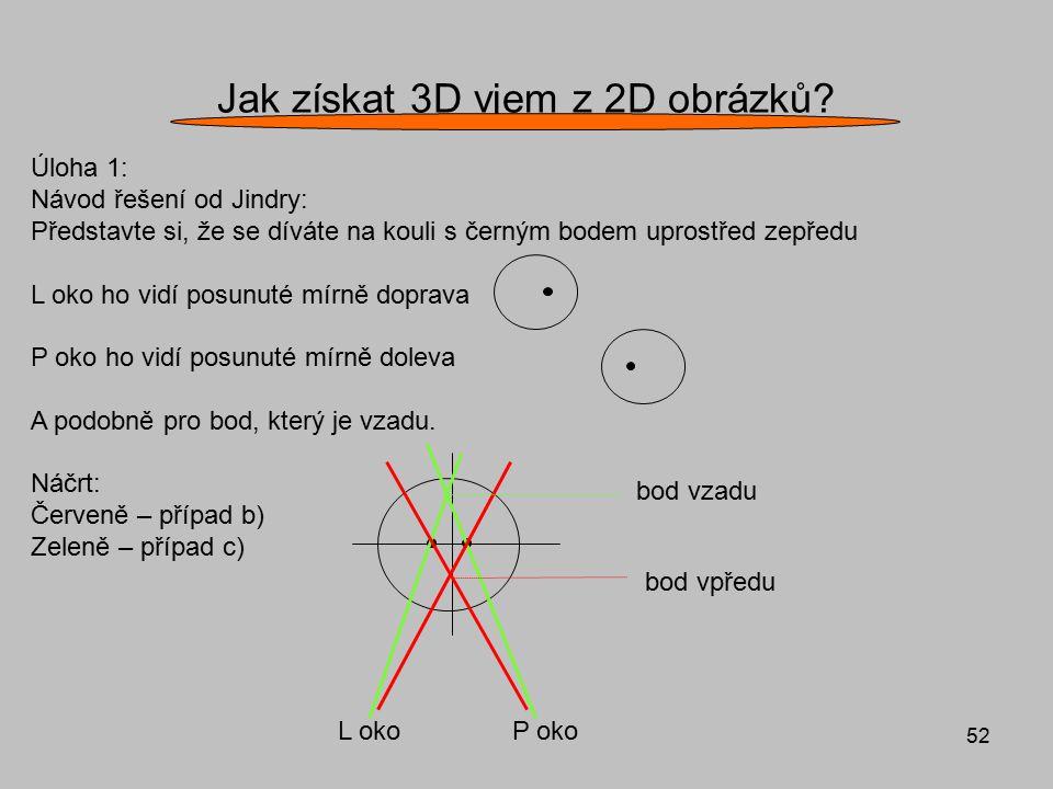 52 Jak získat 3D vjem z 2D obrázků? Úloha 1: Návod řešení od Jindry: Představte si, že se díváte na kouli s černým bodem uprostřed zepředu L oko ho vi