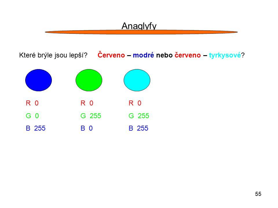 55 Anaglyfy Které brýle jsou lepší? Červeno – modré nebo červeno – tyrkysové? R 0 G 0 B 255 R 0 G 255 B 0 R 0 G 255 B 255