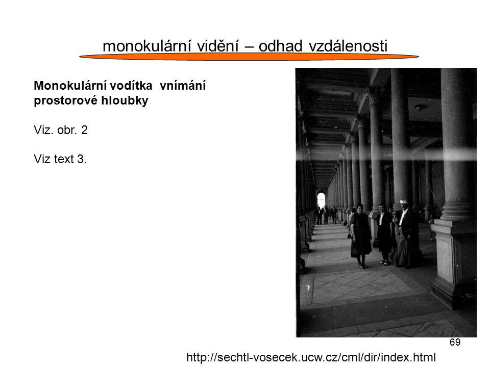 69 monokulární vidění – odhad vzdálenosti Monokulární vodítka vnímání prostorové hloubky Viz. obr. 2 Viz text 3. http://sechtl-vosecek.ucw.cz/cml/dir/