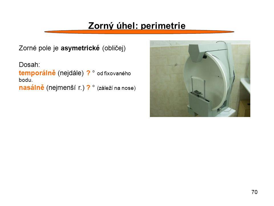 70 Zorný úhel: perimetrie Zorné pole je asymetrické (obličej) Dosah: temporálně (nejdále) ? ° od fixovaného bodu. nasálně (nejmenší r.) ? ° (záleží na