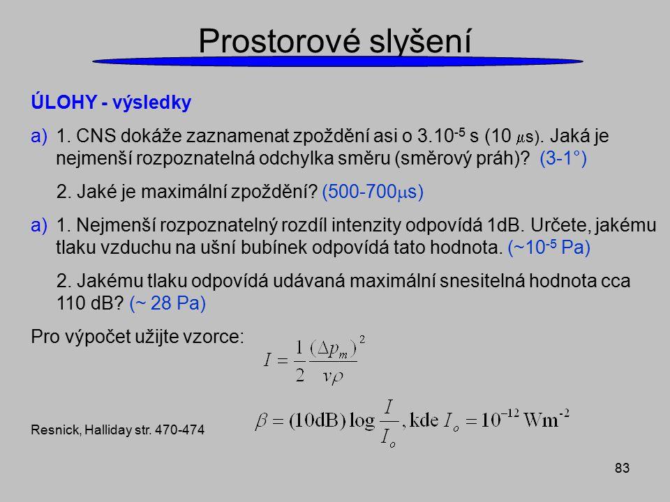83 Prostorové slyšení ÚLOHY - výsledky a)1. CNS dokáže zaznamenat zpoždění asi o 3.10 -5 s (10  s). Jaká je nejmenší rozpoznatelná odchylka směru (sm