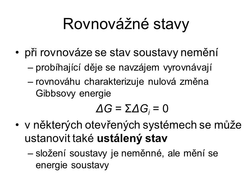 Rovnovážné stavy při rovnováze se stav soustavy nemění –probíhající děje se navzájem vyrovnávají –rovnováhu charakterizuje nulová změna Gibbsovy energ