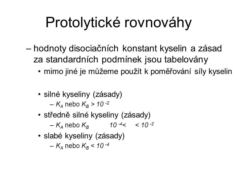 Protolytické rovnováhy –hodnoty disociačních konstant kyselin a zásad za standardních podmínek jsou tabelovány mimo jiné je můžeme použít k poměřování