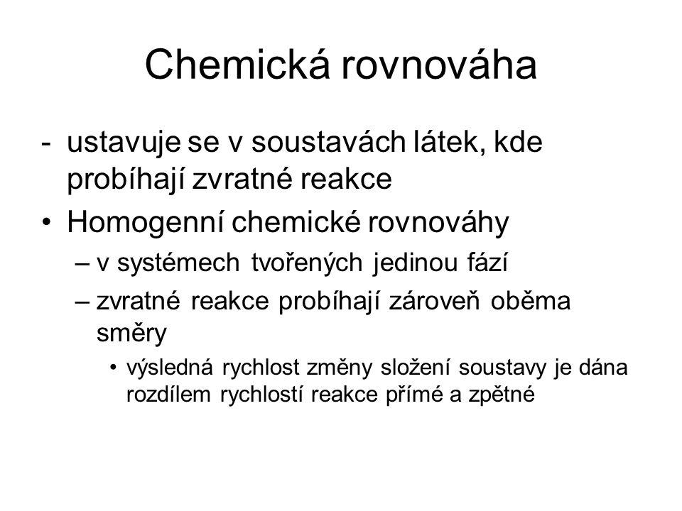 Chemická rovnováha -ustavuje se v soustavách látek, kde probíhají zvratné reakce Homogenní chemické rovnováhy –v systémech tvořených jedinou fází –zvr