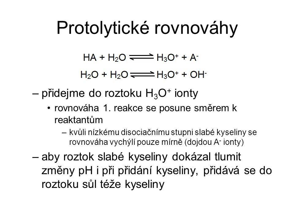 Protolytické rovnováhy –přidejme do roztoku H 3 O + ionty rovnováha 1. reakce se posune směrem k reaktantům –kvůli nízkému disociačnímu stupni slabé k