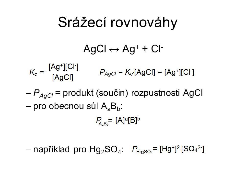 Srážecí rovnováhy AgCl ↔ Ag + + Cl - –P AgCl = produkt (součin) rozpustnosti AgCl –pro obecnou sůl A a B b : –například pro Hg 2 SO 4 :