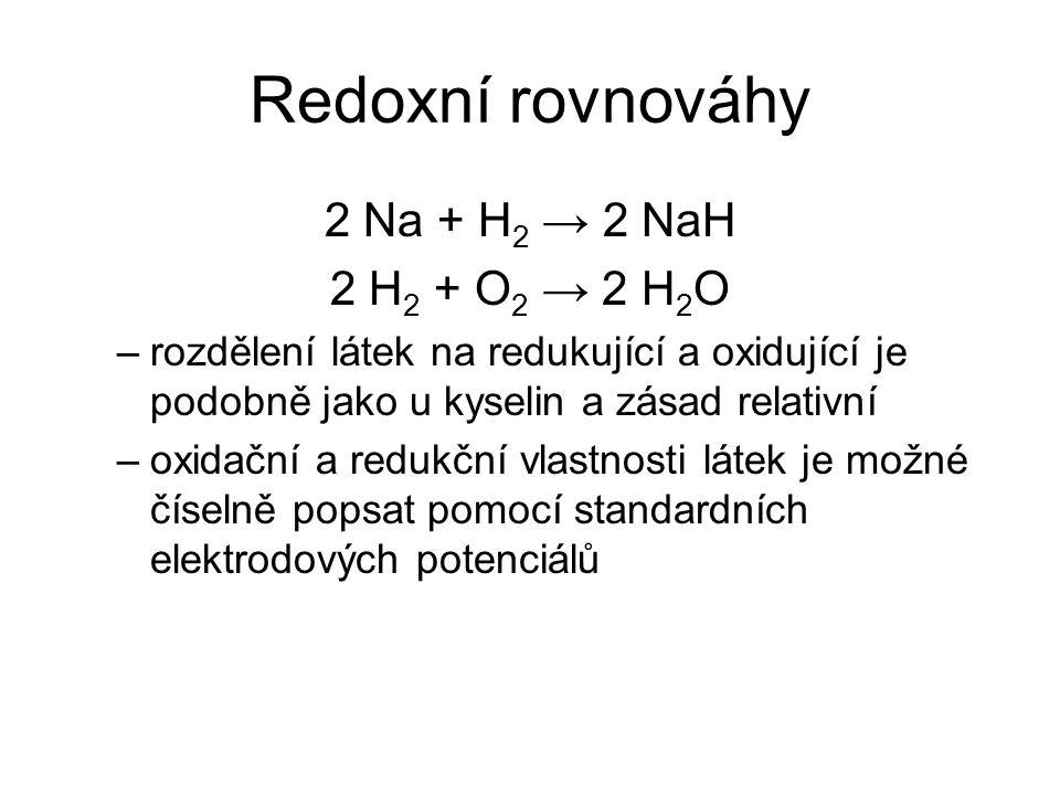 Redoxní rovnováhy 2 Na + H 2 → 2 NaH 2 H 2 + O 2 → 2 H 2 O –rozdělení látek na redukující a oxidující je podobně jako u kyselin a zásad relativní –oxi