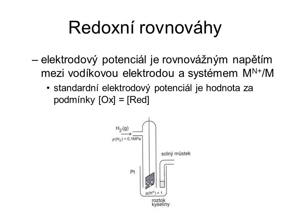 Redoxní rovnováhy –elektrodový potenciál je rovnovážným napětím mezi vodíkovou elektrodou a systémem M N+ /M standardní elektrodový potenciál je hodno