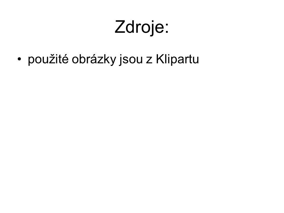 Zdroje: použité obrázky jsou z Klipartu