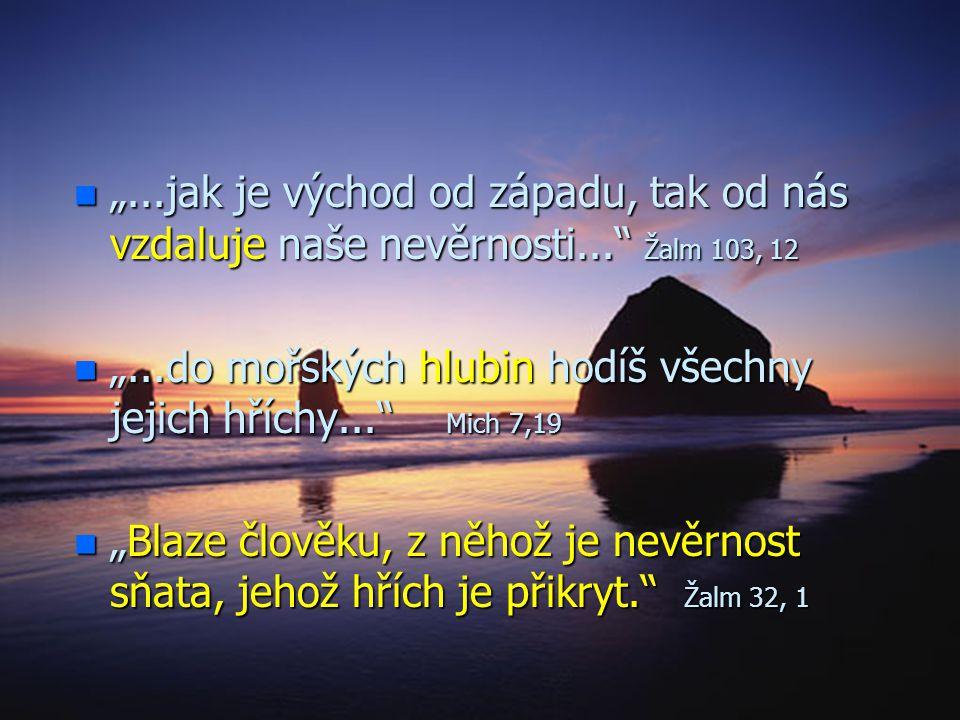 """Výsledek pokání: n""""n""""n""""n""""Jestliže doznáváme své hříchy, on je tak věrný a spravedlivý, že nám hříchy odpouští a očišťuje nás od každé nepravosti."""" 1 J"""