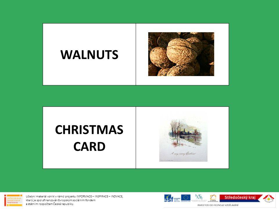 WALNUTS CHRISTMAS CARD Učební materiál vznikl v rámci projektu INFORMACE – INSPIRACE – INOVACE, který je spolufinancován Evropským sociálním fondem a státním rozpočtem České republiky.