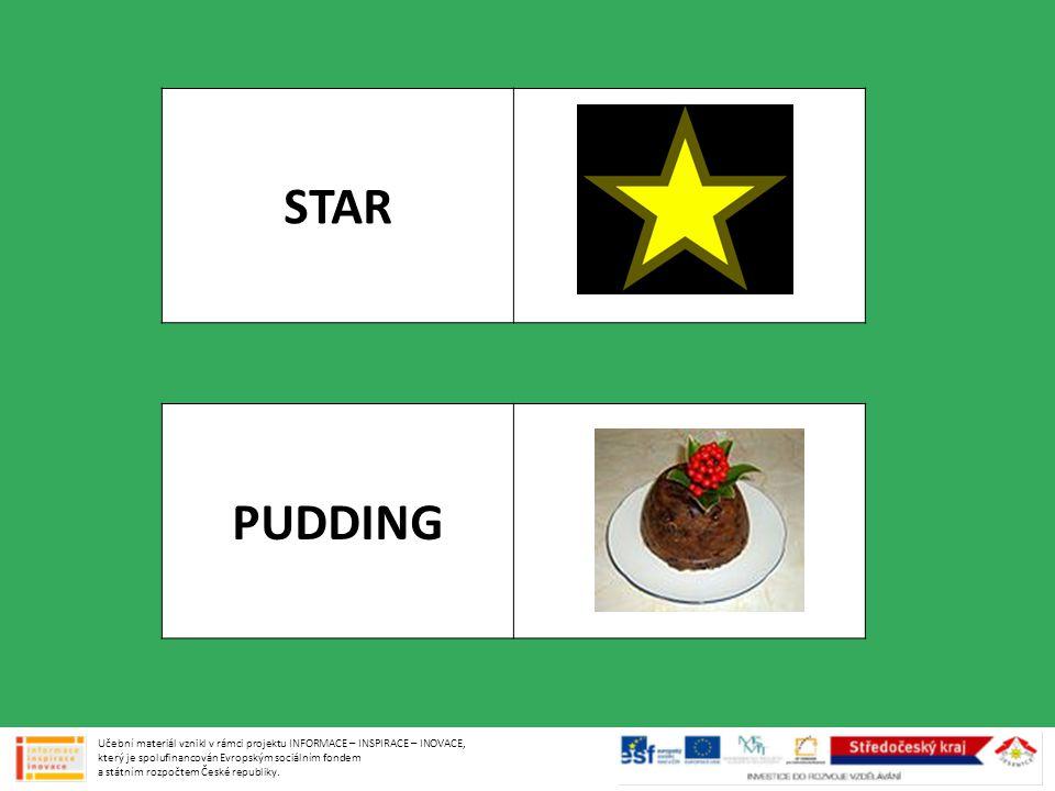 STAR PUDDING Učební materiál vznikl v rámci projektu INFORMACE – INSPIRACE – INOVACE, který je spolufinancován Evropským sociálním fondem a státním rozpočtem České republiky.