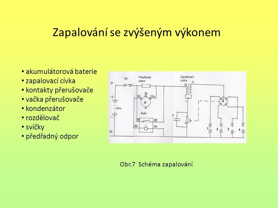 Zapalování se zvýšeným výkonem akumulátorová baterie zapalovací cívka kontakty přerušovače vačka přerušovače kondenzátor rozdělovač svíčky předřadný odpor Obr.7 Schéma zapalování