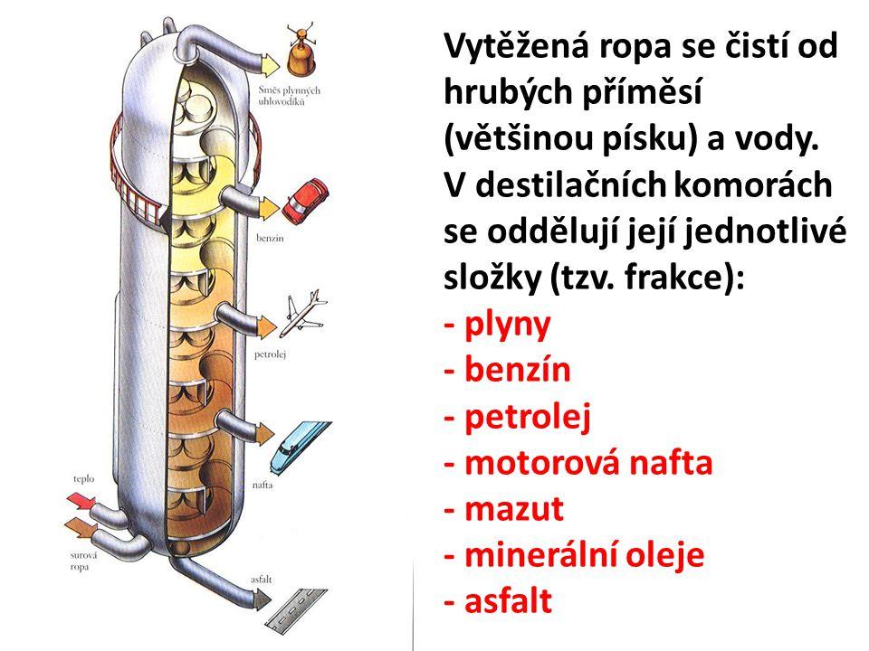 Vytěžená ropa se čistí od hrubých příměsí (většinou písku) a vody. V destilačních komorách se oddělují její jednotlivé složky (tzv. frakce): - plyny -