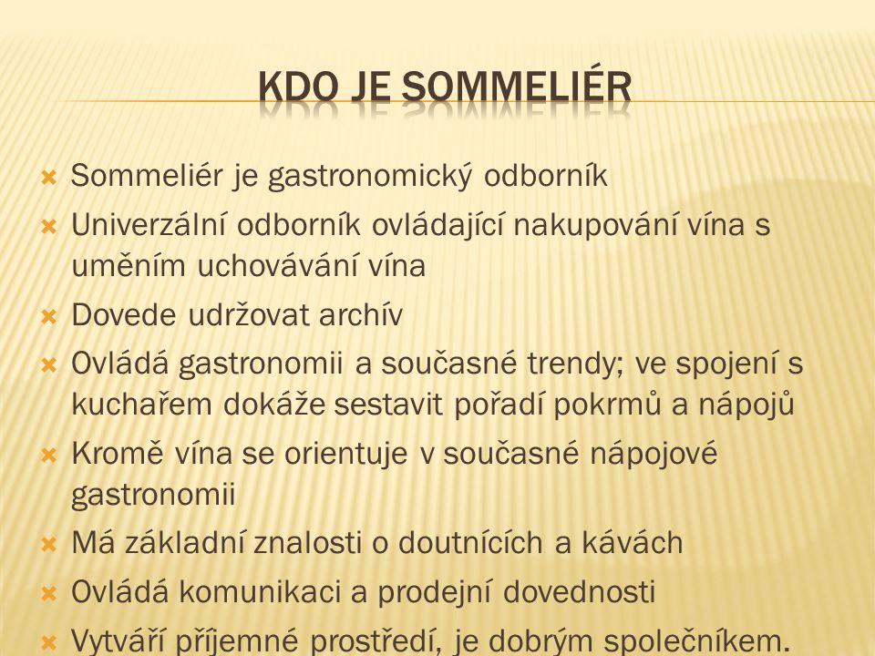  Sommeliér je gastronomický odborník  Univerzální odborník ovládající nakupování vína s uměním uchovávání vína  Dovede udržovat archív  Ovládá gas