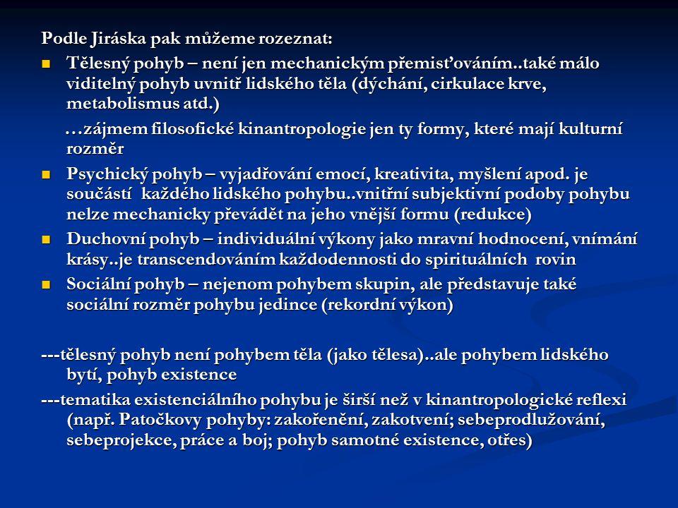 Podle Jiráska pak můžeme rozeznat: Tělesný pohyb – není jen mechanickým přemisťováním..také málo viditelný pohyb uvnitř lidského těla (dýchání, cirkul