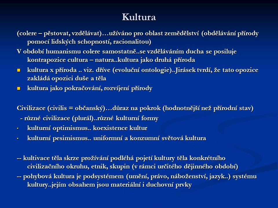 Kultura (colere – pěstovat, vzdělávat)…užíváno pro oblast zemědělství (obdělávání přírody pomocí lidských schopností, racionalitou) V období humanismu