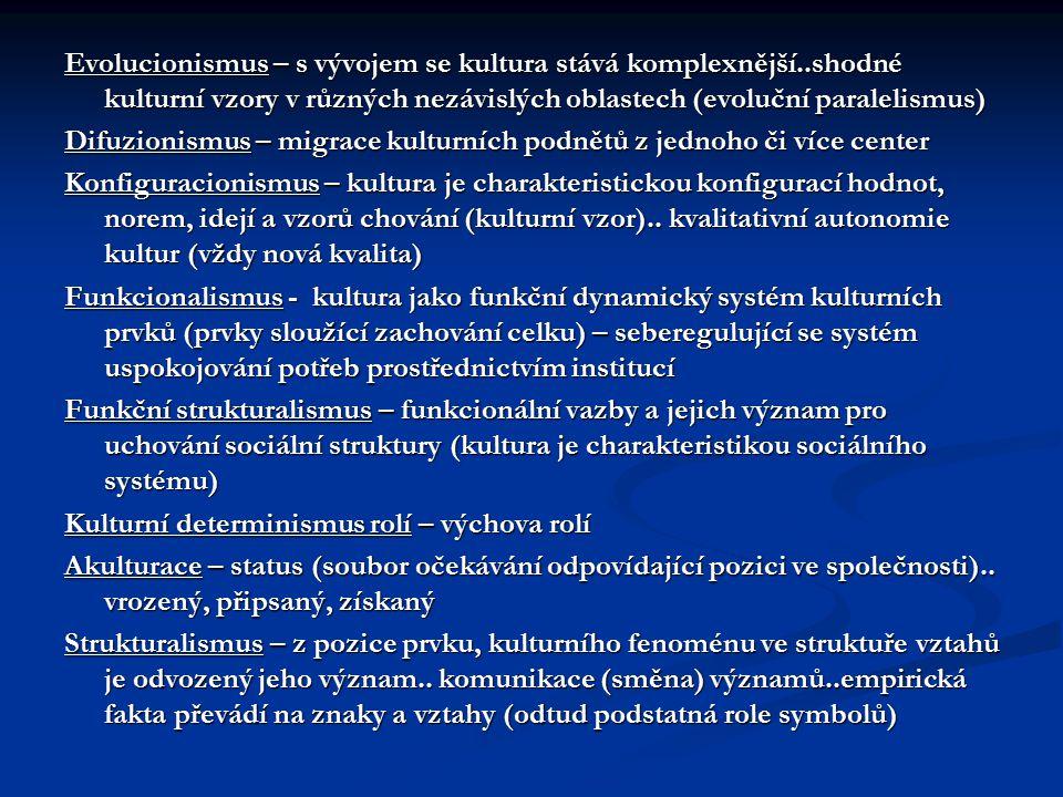 Evolucionismus – s vývojem se kultura stává komplexnější..shodné kulturní vzory v různých nezávislých oblastech (evoluční paralelismus) Difuzionismus