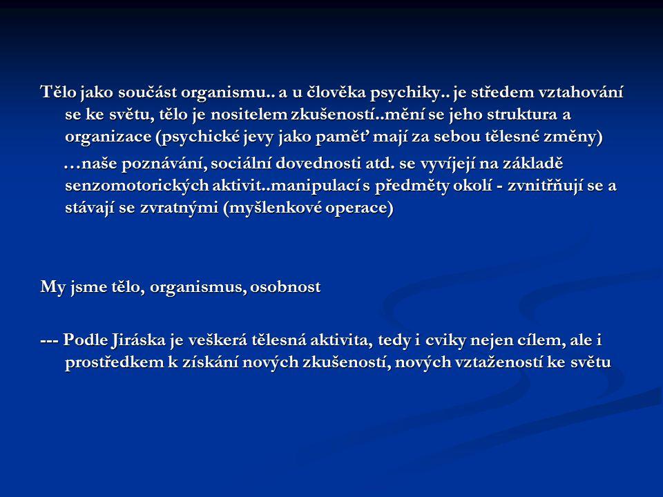 Typologie řešení psychofyzického problému: Dualismus – dvě samostatné entity, substance..jak spolu komunikují (paralelismus, okasionalismus) Dualismus – dvě samostatné entity, substance..jak spolu komunikují (paralelismus, okasionalismus) Monismus – závislost jednoho principu na druhém (duše na těle) Monismus – závislost jednoho principu na druhém (duše na těle) Triadismus – tělo-duše-duch Triadismus – tělo-duše-duch Holismus – ontologická jednota, jen epistemologicky různé zvýznamnění jednotlivých fenoménů: Holismus – ontologická jednota, jen epistemologicky různé zvýznamnění jednotlivých fenoménů: - materiálního (tělo) - materiálního (tělo) - ideálního (duše) - ideálního (duše) - individuačního (duch) - individuačního (duch) - relačního (sociální zakotvenost – společnost, kultura) - relačního (sociální zakotvenost – společnost, kultura) ---- nejsou substance..celek, identita celého organismu – ovšem otázka hranic organismus – svět (energie, aura..ale i sociální interakce, i interakce na úrovni hmoty) ---- nejsou substance..celek, identita celého organismu – ovšem otázka hranic organismus – svět (energie, aura..ale i sociální interakce, i interakce na úrovni hmoty)