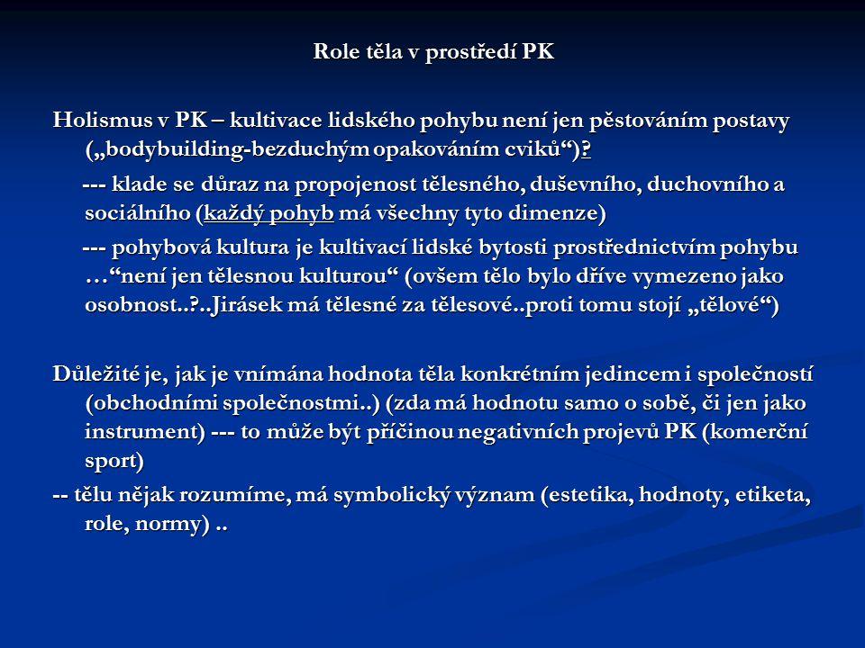 """Role těla v prostředí PK Holismus v PK – kultivace lidského pohybu není jen pěstováním postavy (""""bodybuilding-bezduchým opakováním cviků"""")? --- klade"""