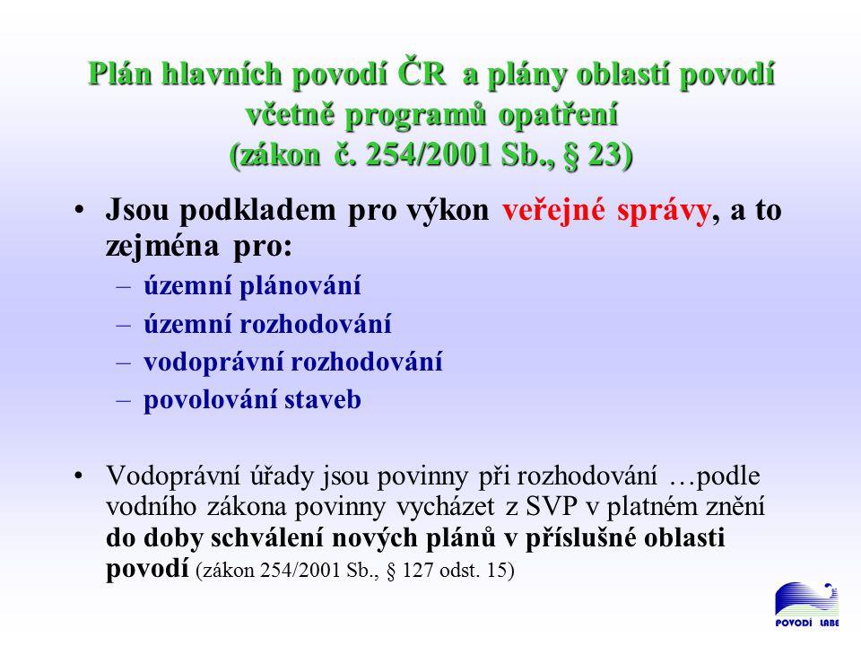 Plán hlavních povodí ČR a plány oblastí povodí včetně programů opatření (zákon č.