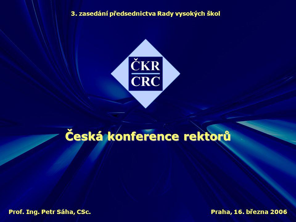 3. zasedání předsednictva Rady vysokých škol Praha, 16. března 2006 Česká konference rektorů Prof. Ing. Petr Sáha, CSc.