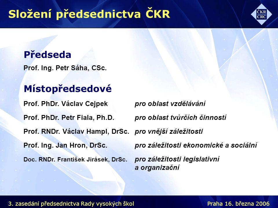 Předseda Prof. Ing. Petr Sáha, CSc. Místopředsedové Prof.