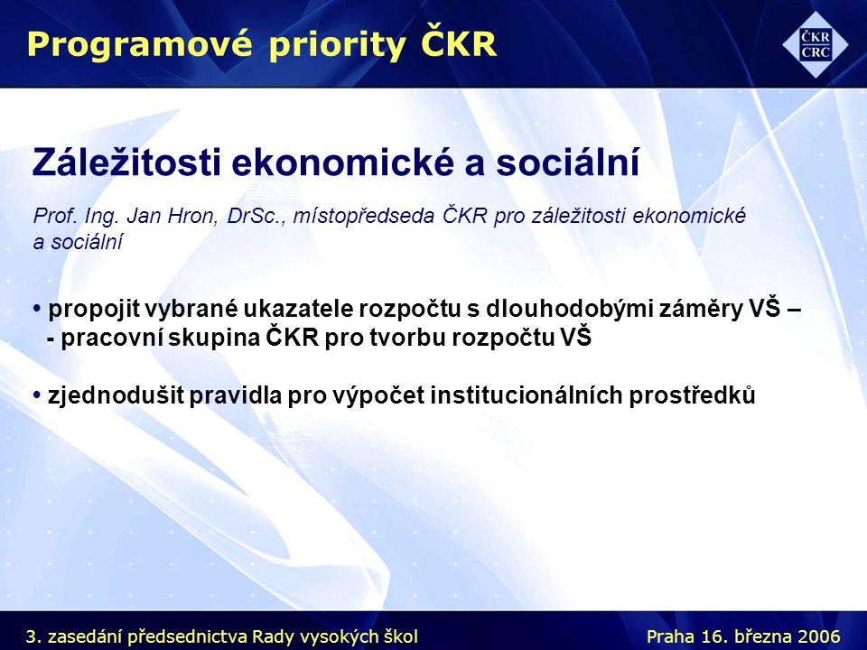 Záležitosti ekonomické a sociální Prof. Ing. Jan Hron, DrSc., místopředseda ČKR pro záležitosti ekonomické a sociální Programové priority ČKR propojit