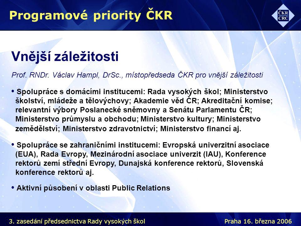 Vnější záležitosti Prof. RNDr. Václav Hampl, DrSc., místopředseda ČKR pro vnější záležitosti Programové priority ČKR Spolupráce s domácími institucemi