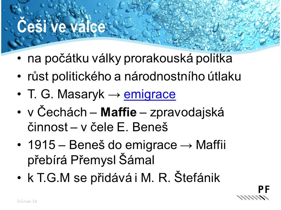 Češi ve válce na počátku války prorakouská politka růst politického a národnostního útlaku T. G. Masaryk → emigraceemigrace v Čechách – Maffie – zprav