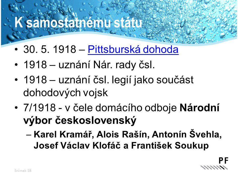 K samostatnému státu 30. 5. 1918 – Pittsburská dohodaPittsburská dohoda 1918 – uznání Nár. rady čsl. 1918 – uznání čsl. legií jako součást dohodových