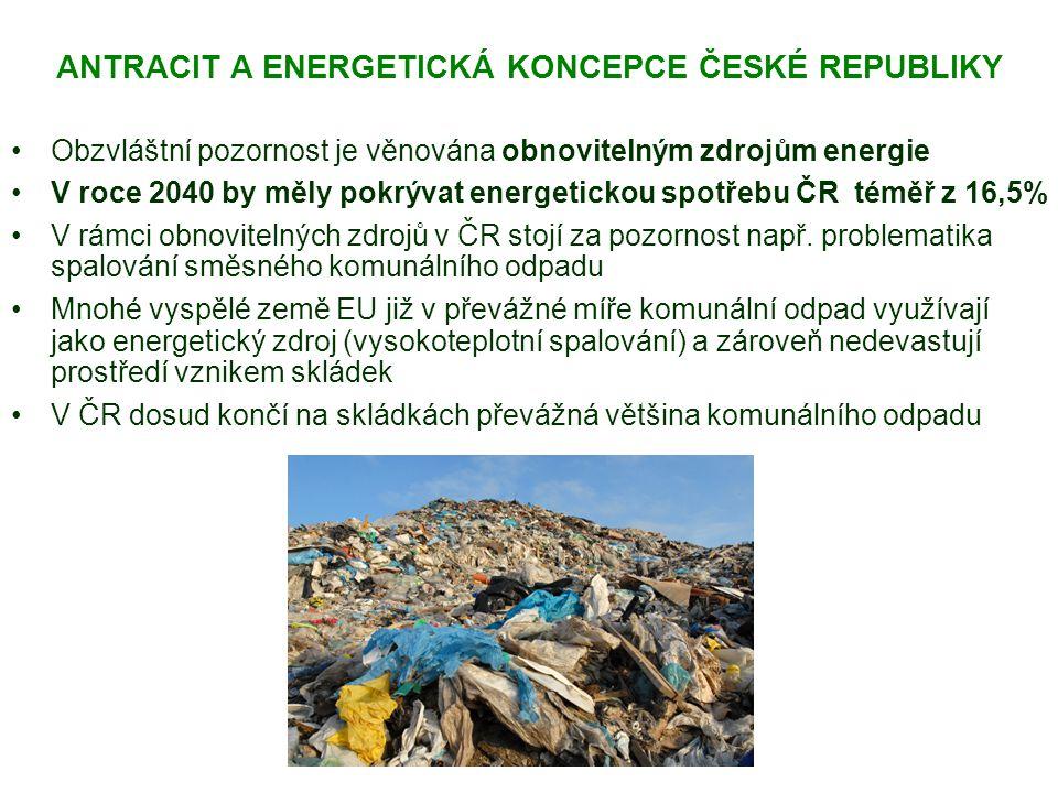 ANTRACIT A ENERGETICKÁ KONCEPCE ČESKÉ REPUBLIKY Obzvláštní pozornost je věnována obnovitelným zdrojům energie V roce 2040 by měly pokrývat energetickou spotřebu ČR téměř z 16,5% V rámci obnovitelných zdrojů v ČR stojí za pozornost např.