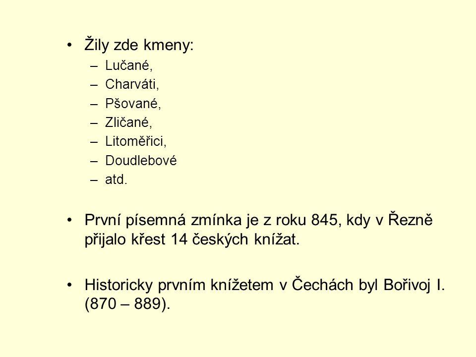 Žily zde kmeny: –Lučané, –Charváti, –Pšované, –Zličané, –Litoměřici, –Doudlebové –atd. První písemná zmínka je z roku 845, kdy v Řezně přijalo křest 1