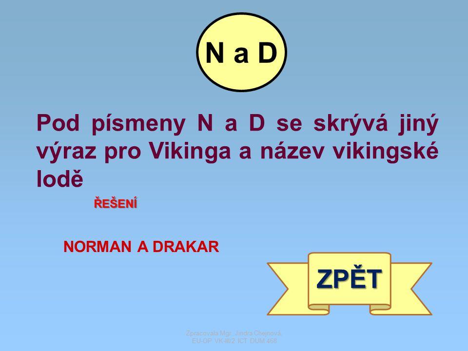 Pod písmeny N a D se skrývá jiný výraz pro Vikinga a název vikingské lodě ŘEŠENÍ NORMAN A DRAKAR ZPĚT N a D Zpracovala Mgr. Jindra Chejnová, EU-OP VK-