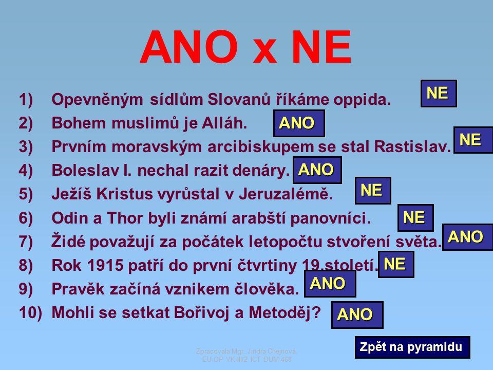 ANO x NE 1)Opevněným sídlům Slovanů říkáme oppida. 2)Bohem muslimů je Alláh. 3)Prvním moravským arcibiskupem se stal Rastislav. 4)Boleslav I. nechal r